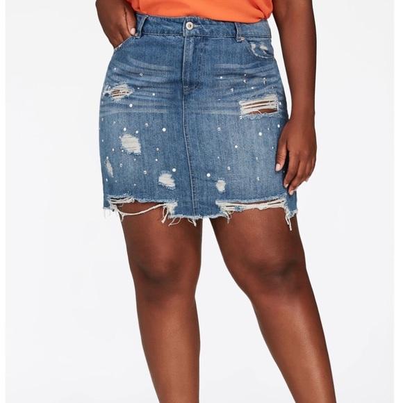 333ffd75cf Ashley Stewart Skirts | Studded Mini Denim Skirt Sz 16 | Poshmark